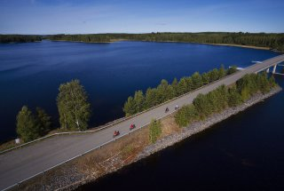 Biking in Lake Saimaa on Bridge in Orivesi