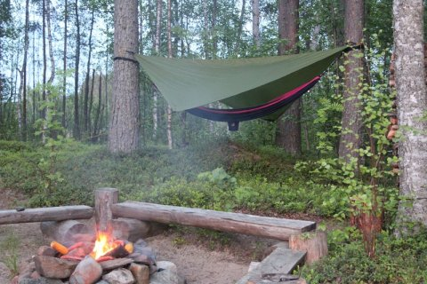 hammocks in the nature and open fire place Karelia Finland